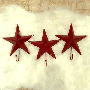 Other - 3 Metal Wall Stars with Hooks